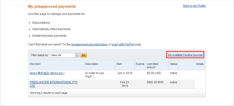 paypal payment setting